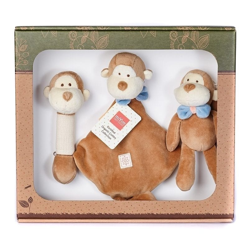 美國 miYim 有機棉安撫玩具禮盒 - Fred 猴子 3件組