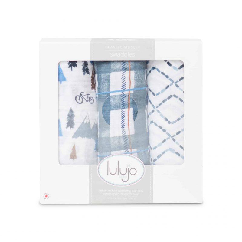 加拿大 Lulujo 棉紗包巾禮盒裝 - 海軍藍山岳 3件裝