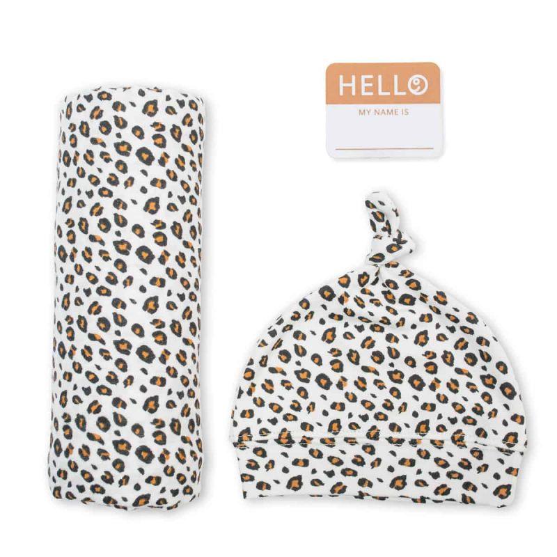 加拿大 Lulujo Hello World 竹纖維禮盒裝 - 豹紋 2件裝
