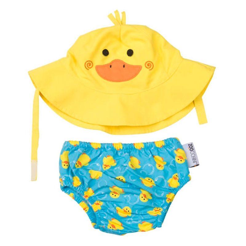 美國 Zoocchini 泳裝連帽套裝 - 小鴨 (12-24m)